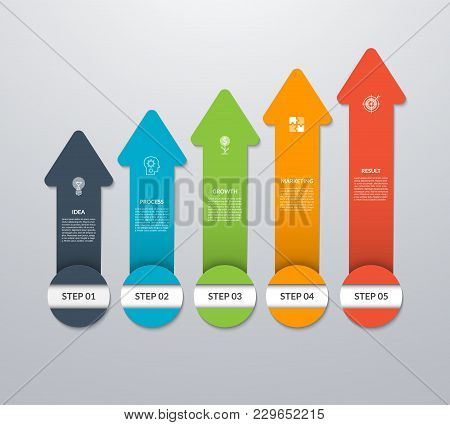 Vector Arrows Pointing Up For Infographic Graph, Diagram, Chart. Business Growth Concept With 5 Vert