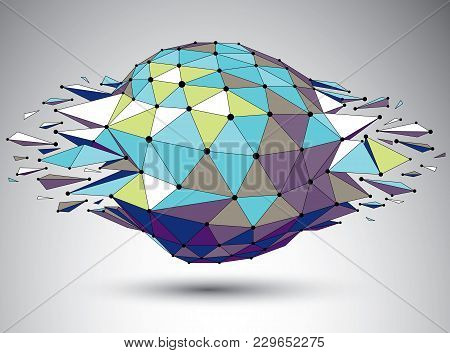 Vector Dimensional Colorful Wireframe Object, Demolished Shape With Refractions And Wreckage. 3d Mes
