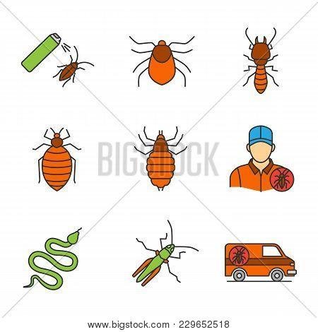Pest Control Color Icons Set