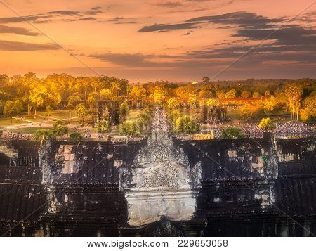 Arial Sunrise View Of Popular Tourist Attraction Ancient Temple Complex Angkor Wat From The Tower Si