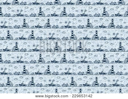 Lighthouse, Ship, Waves And Clouds In Kids Doodle Style, Dark Blue Vector Seamless Pattern