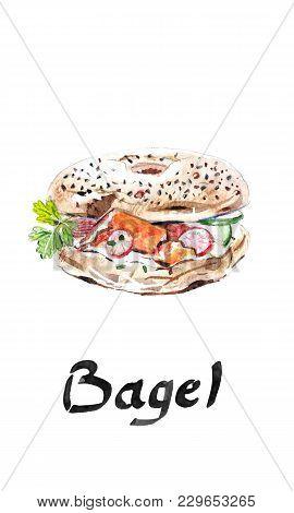 Bagel Bakery, Flour Product Beygl, Beigel, Baigiel, Fast Food American Bagel, With Ham, Tomatoes, On
