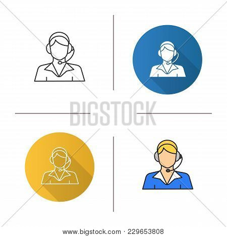 Call Center Operator Icon. Flat Design, Linear And Color Styles. Support Service. Isolated Vector Il