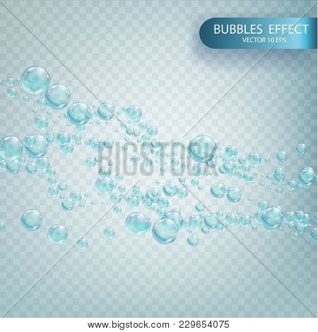 Water Bubbles Isolated On A Transparent Checkered Background. Bubbles With Reflex And Reflection, Re