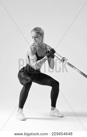 Black And White Photo Of Hamstring, Quad And Booty Workout Attractive Fitness Model Exercises With B