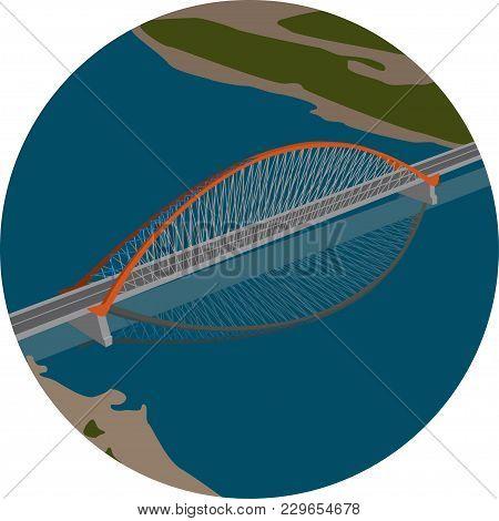 Picture Of A Suspension Bridge Over The River.