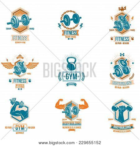 Set Of Vector Heavy Load Theme Symbols And Advertising Leaflets Composed With Dumbbells, Kettle Bell