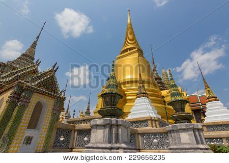 Wat Phra Kaew, Thailand  - February 5 2016:  Temple Of The Emerald Buddha (officially Known As Wat P