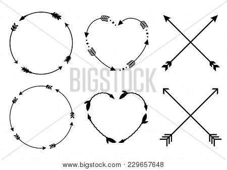 Circle And Heart Arrow Frames. Circle And Heart Monograms. Criss Cross Hipster Arrows. Arrows In Boh