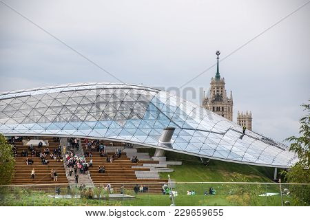 Moscow, Russia, September 15, 2017 Zaryadye Landscape Park In The Center Of Moscow