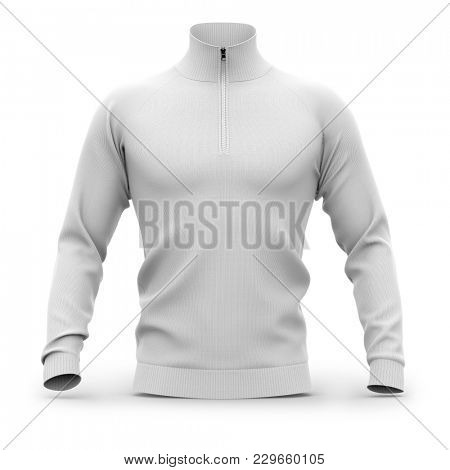 Men's white zip neck pullover with raglan sleeves, rubber cuffs and collar. Front view. 3d rendering. Clipping paths included: whole object, collar, sleeve, cuffs, zipper.  poster