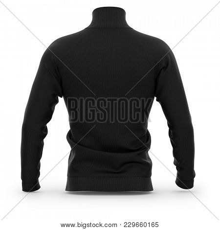 Men's zip neck pullover with raglan sleeves, rubber cuffs and collar. Back view. 3d rendering. Clipping paths included: whole object, collar, sleeve, cuffs, zipper.  poster