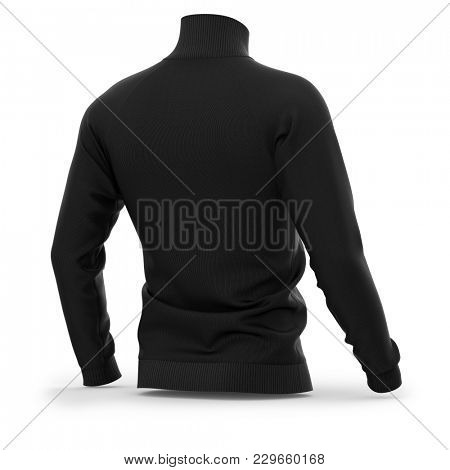 Men's zip neck pullover with raglan sleeves, rubber cuffs and collar. Half-back view. 3d rendering. Clipping paths included: whole object, collar, sleeve, cuffs, zipper.  poster