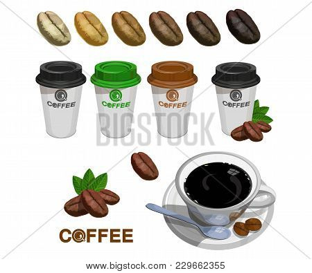 Set Of Paper Coffee Cups. Green Coffee. Cup Of Coffee. Coffee Logo. Modern Vector Illustration For W