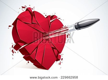 Heart Broken With Bullet Gun Shot, 3d Realistic Vector Illustration Of Heart Symbol Exploding To Pie