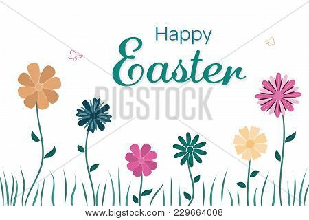 Happy Easter. Field Of Flowers In Trendy Colors With Text : Happy Easter