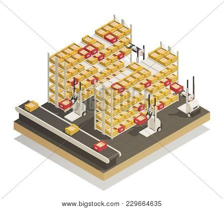 Newest Fully Automated Supermarket And Stores Shelves Replenishment Technology Isometric Composition