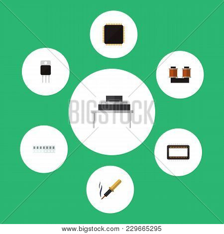 Icon flat device set of ram, soldering iron, transistor and other vector objects. Also includes copper, transistor, memory elements. poster