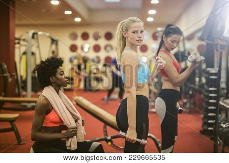Girls training at the gym