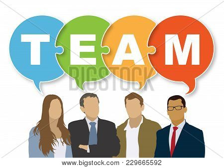 Good Business Team. The Members Of The Team Think Differently, But They Are Talking Together The Sam