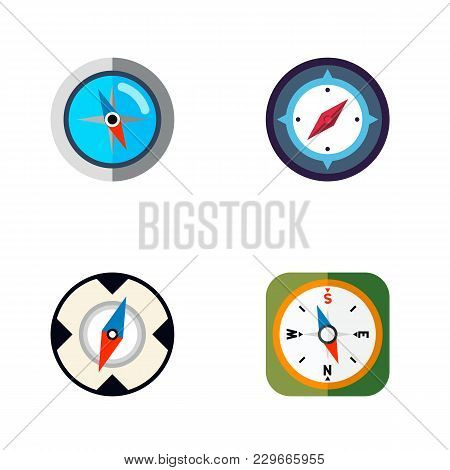 Icon Flat Direction Set Of Geography, Instrument, Direction And Other Vector Objects. Also Includes