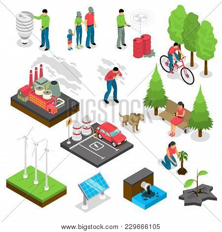 Ecology Isometric Set With Green Energy, Air And Water Pollution, Electric Car, Nature Revival Isola