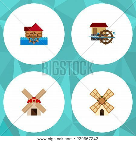 Icon Flat Alternative Set Of Windmill, Power, Wheel And Other Vector Objects. Also Includes Windmill