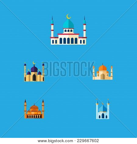 Icon Flat Mosque Set Of Islam, Building, Structure And Other Vector Objects. Also Includes Mosque, S