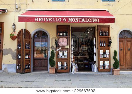 Montalcino, Italy - July 20, 2017: Entrance Of Traditional Wine Shop In Montalcino, Tuscany, Italy.