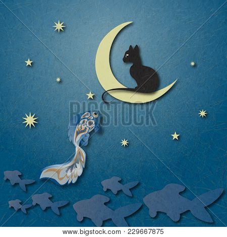 Black Cat Sitting On Moon And Fishing Golden Fish Among Starry Sky. Shading, Layered Paper Effects A
