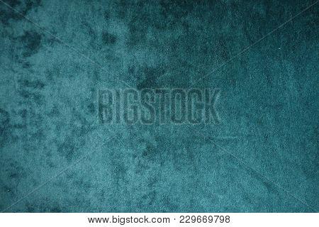 Dark Green Velvet Fabric Surface From Above