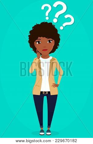 Emotions On Business Topics. A Young Girl In A Business Suit Is Puzzled. Business Concept. In Flat S