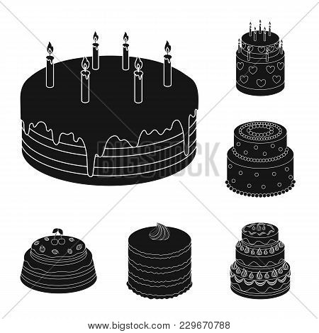 Cake And Dessert Black Icons In Set Collection For Design. Holiday Cake Vector Symbol Stock  Illustr