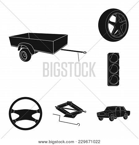 Car, Vehicle Black Icons In Set Collection For Design. Car And Equipment Vector Symbol Stock  Illust
