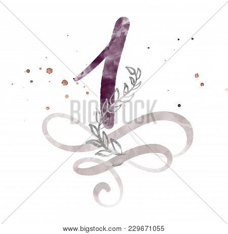 Calligraphic Number One 1 Vintage Isolated On White Background. Watercolor Decor Flourish For Decora