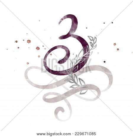 Calligraphic Number Three 3 Vintage Isolated On White Background. Watercolor Decor Flourish For Deco