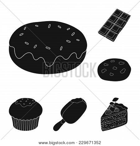 Chocolate Dessert Black Icons In Set Collection For Design. Chocolate And Sweets Vector Symbol Stock