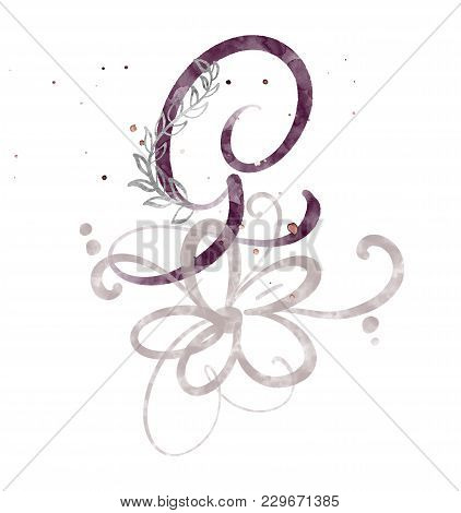 Hand Drawn Calligraphy Letter G. Watercolor Script Font. Isolated Letters Written With Ink. Handwrit