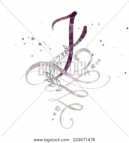 Hand Drawn Calligraphy Letter J. Watercolor Script Font. Isolated Letters Written With Ink. Handwrit