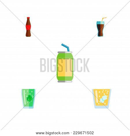 Icon Flat Drink Set Of Bottle, Beverage, Juice And Other  Objects. Also Includes Drink, Beverage, Cu