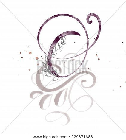 Hand Drawn Calligraphy Letter O. Watercolor Script Font. Isolated Letters Written With Ink. Handwrit
