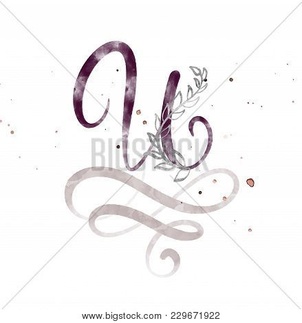 Hand Drawn Calligraphy Letter U. Watercolor Script Font. Isolated Letters Written With Ink. Handwrit