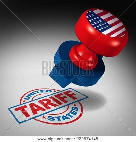 United States Tariffs And American Trade Tariff In The Us As A Stamp Mark As An Economic Import And