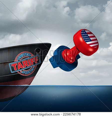 American Trade Tariff As Steel And Aluminum Tariffs In The United States As A Stamp On A Cargo Ship