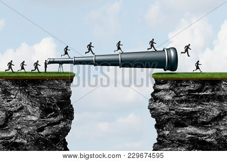 Searching Success As A Long  Telescope Creating A Bridge For People To Cross As A Business Research