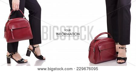 Female Legs In Classic Black Pants Black Lacquer Shoes With Red Leather Bag In Hand Fashion Beauty A