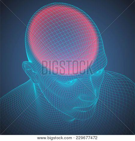 Headache Wire Frame Human Head. Vector Blueprint Illustration