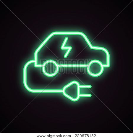 Green Neon Icon Of Charging Station For Electric Car. Electric Vehicle, Car Battery, Ecological Tran