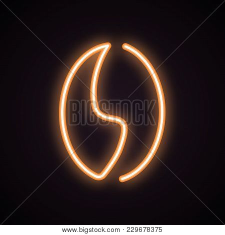 Orange Neon Icon Of Coffee Bean. Coffee Shop, Caffeine, Cafe. Urban Services Concept. Can Be Used Fo