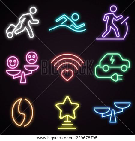 Icon Set Of Neon Public Places Signs. Advertisement, Urban Services, Nightlife. Urban Life Concept.